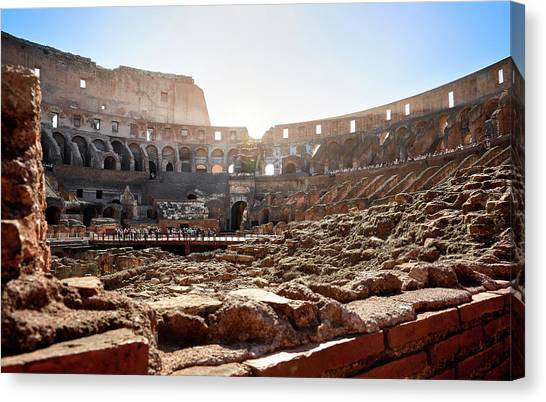 The Interior Of The Roman Coliseum Canvas Print