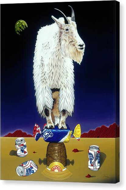 Canvas Print featuring the painting The Intoxicated Mountain Goat by Paxton Mobley