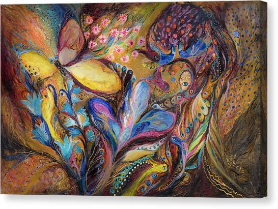 The Iris And The Butterfly Canvas Print by Elena Kotliarker