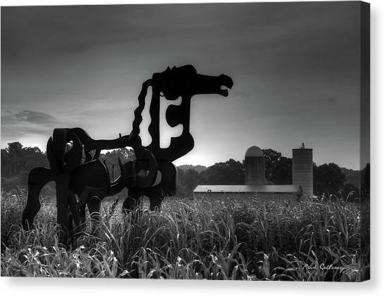 University Of Georgia Canvas Print - The Iron Horse Classic Black White Sculpture Art by Reid Callaway