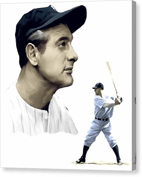 Lou Gehrig Canvas Print - The Iron Horse  Lou Gehrig by Iconic Images Art Gallery David Pucciarelli