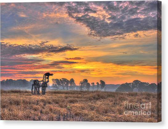 University Of Georgia Canvas Print - The Iron Horse New Sunrise by Reid Callaway