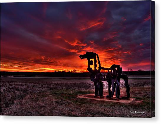 University Of Georgia Canvas Print - The Iron Horse Red Sky Sunset by Reid Callaway
