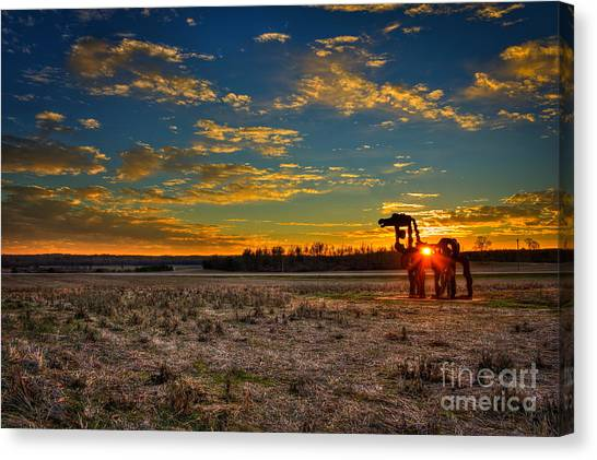 University Of Georgia Canvas Print - The Iron Horse Sunset Blues by Reid Callaway