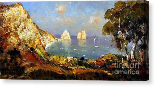 The Island Of Capri And The Faraglioni Canvas Print