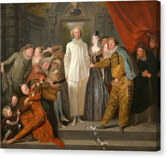 Rococo Art Canvas Print - The Italian Comedians by Antoine Watteau