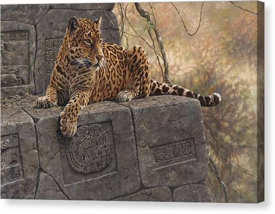Canvas Print featuring the painting The Jaguar King by Alan M Hunt