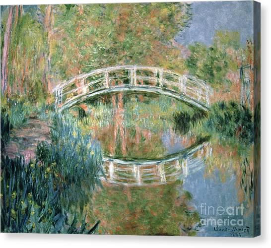 Japanese Garden Canvas Print - The Japanese Bridge by Claude Monet