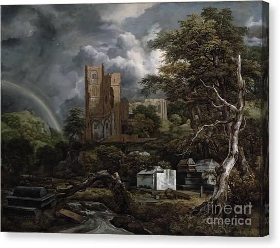 Church Yard Canvas Print - The Jewish Cemetery by Jacob Isaaksz Ruisdael