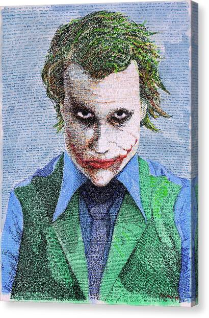 Heath Ledger Canvas Print - The Joker In His Own Words by Phil Vance