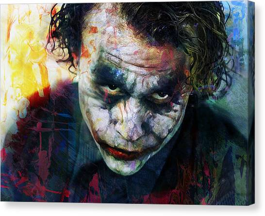 Heath Ledger Canvas Print - The Joker by Mal Bray