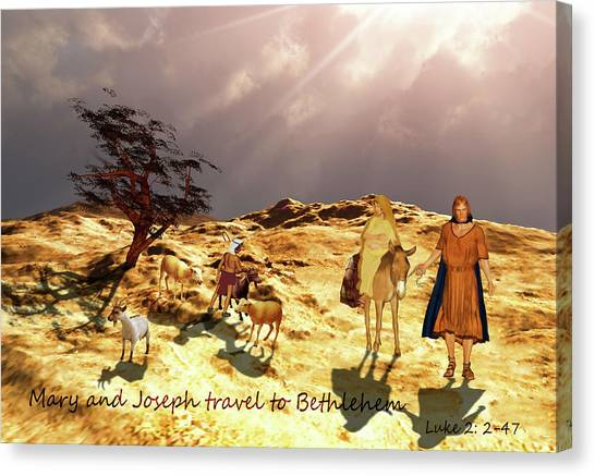 Canvas Print featuring the painting The Journey To Bethlehem by Valerie Anne Kelly