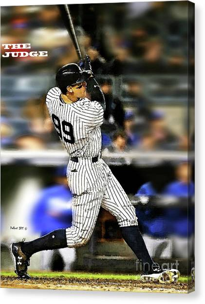 Kansas City Royals Canvas Print - The Judge, Aaron Judge, Number 99, New York Yankees by Thomas Pollart