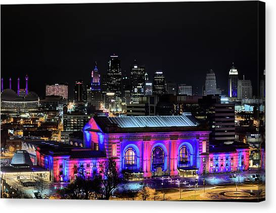 University Of Missouri Canvas Print - The Kansas City Skyline by JC Findley