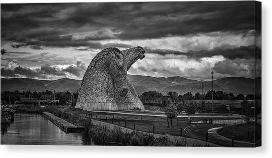 The kelpies canvas print the kelpies by angela aird