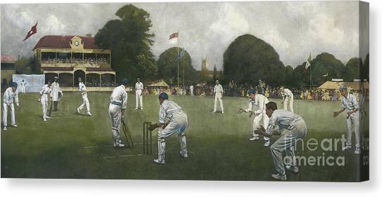 Crickets Canvas Print - The Kent Eleven Champions, 1906 by Albert Chevallier Tayler