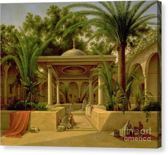 Oasis Canvas Print - The Khabanija Fountain In Cairo by Grigory Tchernezov