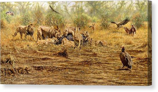 Canvas Print featuring the painting The Kill by Alan M Hunt