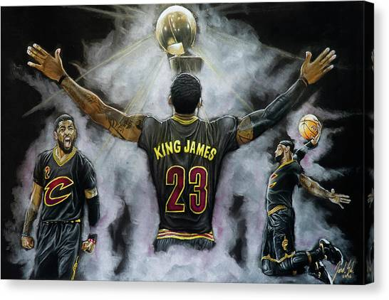 Kyrie Irving Canvas Print - The King by Jordan Spector