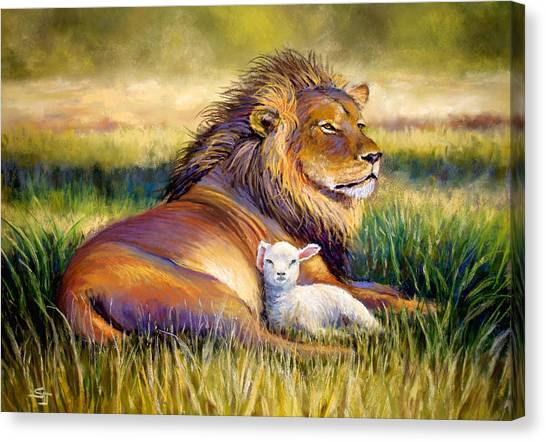 Lions Canvas Print - The Kingdom Of Heaven by Susan Jenkins
