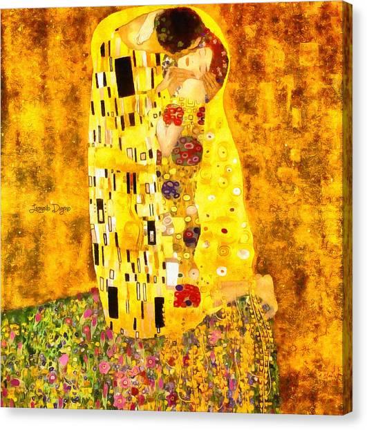 Gustav Klimt Canvas Print - The Kiss By Gustav Klimt Revisited - Da by Leonardo Digenio