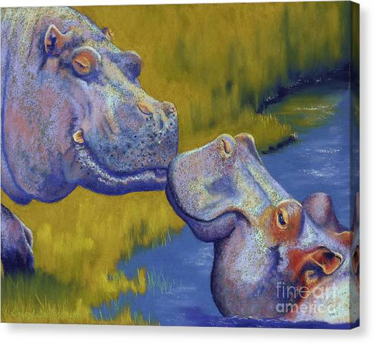 African Canvas Print - The Kiss - Hippos by Tracy L Teeter