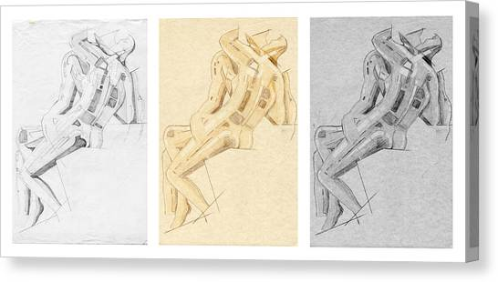 The Kiss - Triptych - Homage Rodin Canvas Print