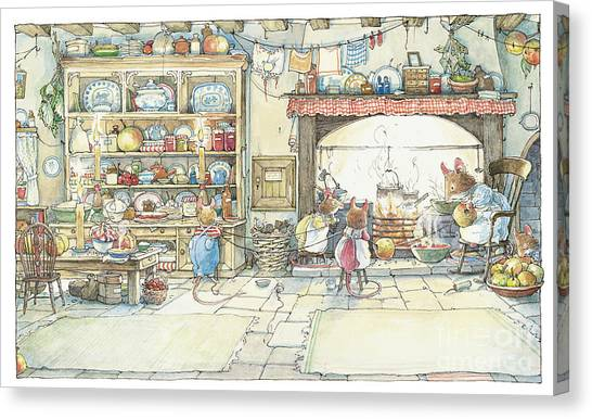 Countryside Canvas Print - The Kitchen At Crabapple Cottage by Brambly Hedge