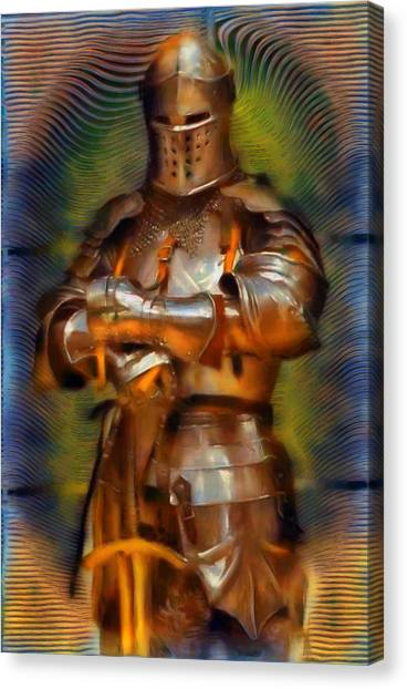 Fashion Plate Canvas Print - The Knight In Shining Armor by Mario Carini