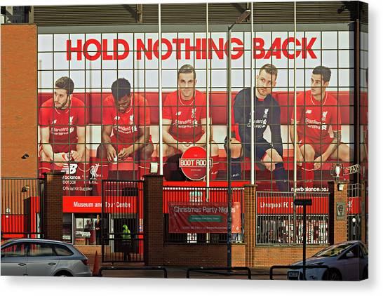 British Premier League Canvas Print - The Kop Entrance To Liverpool Foo by Ken Biggs