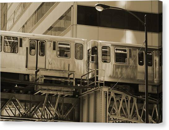 The L Downtown Chicago In Sepia Canvas Print