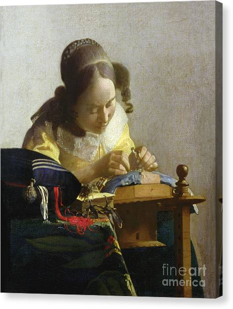 Crt Canvas Print - The Lacemaker by Jan Vermeer