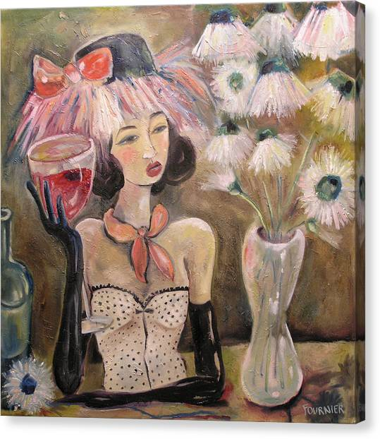 The Lady In The Flower Hat Canvas Print by Jenna Fournier