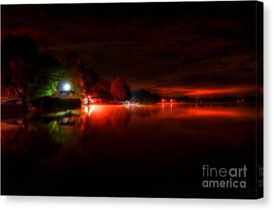 Pontoon Canvas Print - The Lake At Nightfall by Michael Garyet