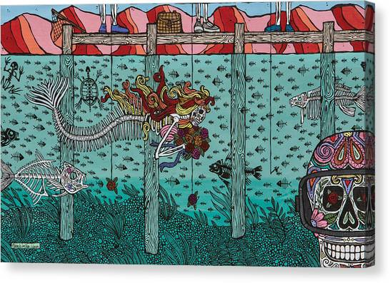Dia Del Muerto Canvas Print - The Lake-el Lago by Pamela Joy Trow-Johnson