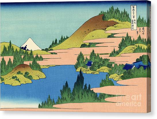Mount Fuji Canvas Print - The Lake Of Hakone In The Segami Province by Hokusai