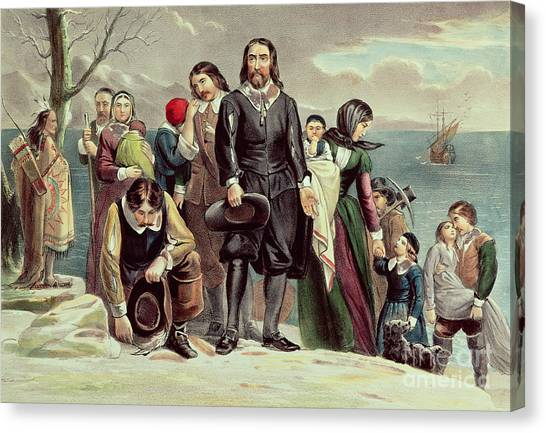 Pilgrims Canvas Print - The Landing Of The Pilgrims At Plymouth by Currier and Ives