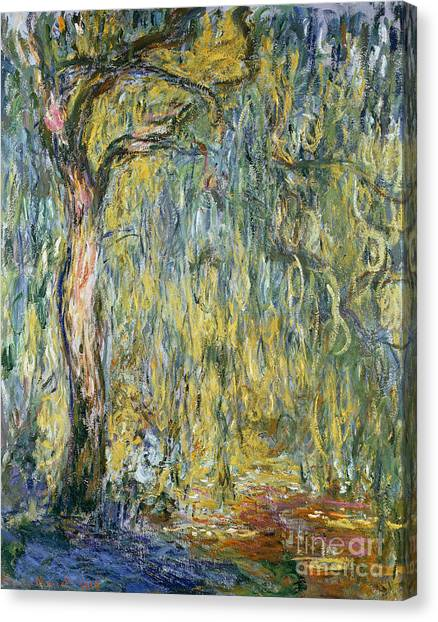 Weeping Willows Canvas Print - The Large Willow At Giverny by Claude Monet