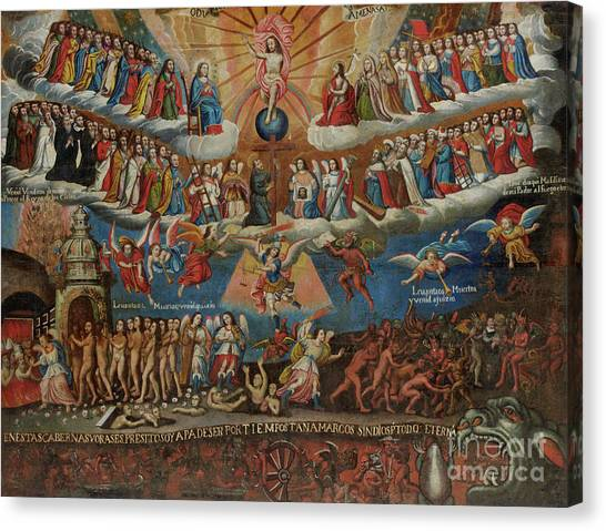 Peruvian Canvas Print - The Last Judgement, Cuzco School, Late 17th Century by Diego Quispe Tito
