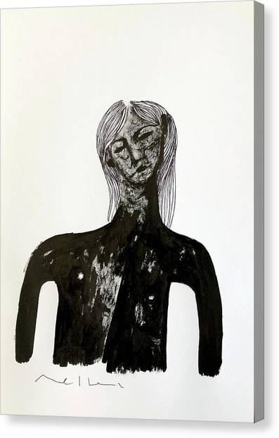 Pen And Ink Drawing Canvas Print - The Last Man  by Mark M Mellon