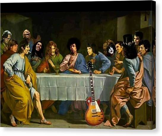 Led Zepplin Canvas Print - The Last Rock Supper by Carrie Armstrong