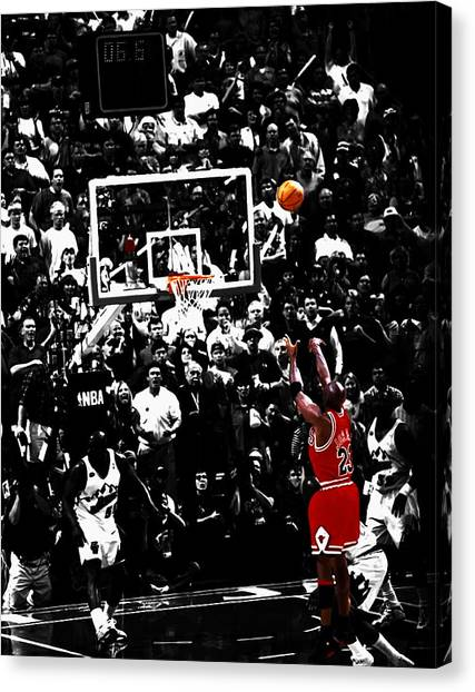 Utah Jazz Canvas Print - The Last Shot 23 by Brian Reaves