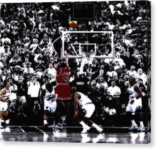 Utah Jazz Canvas Print - The Last Shot 5 by Brian Reaves