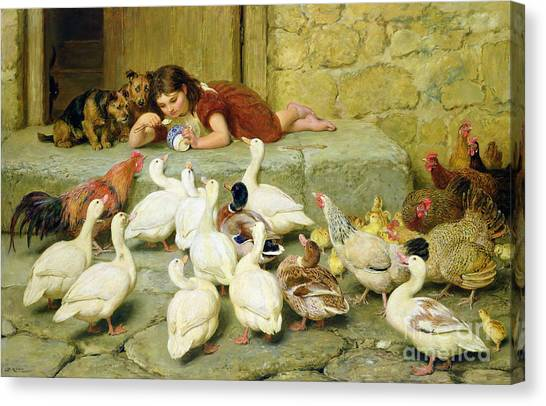 Ducks Canvas Print - The Last Spoonful by Briton Riviere