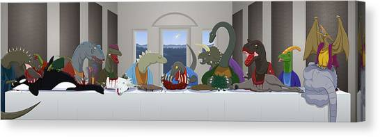 Velociraptor Canvas Print - The Last Supper Of Raptor Jesus by Greasy Moose