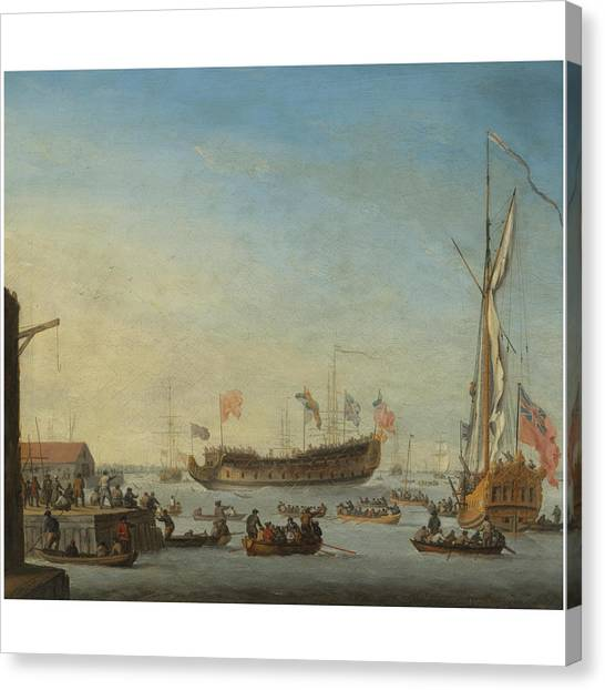 Woodcocks Canvas Print - The Launch Of A Man Of War by Robert Woodcock