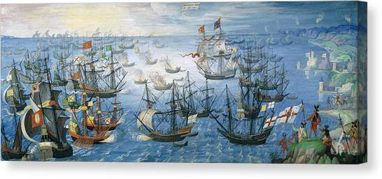 Queen Elizabeth Canvas Print - The Launching Of English Fire Ships On The Spanish Fleet Off Calais by Flemish School