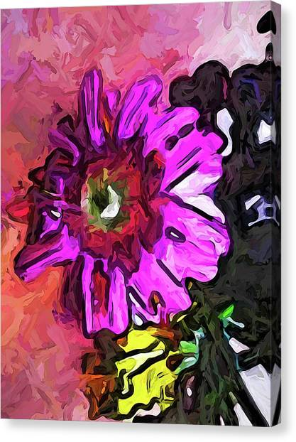 The Lavender Flower Above The Yellow Flower Canvas Print