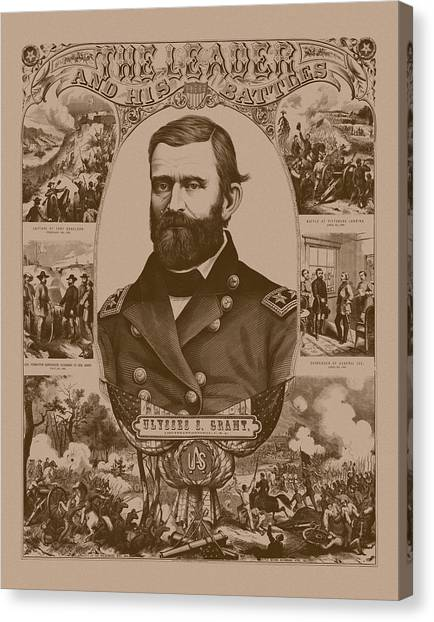 U. S. Presidents Canvas Print - The Leader And His Battles - General Grant by War Is Hell Store