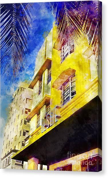 Miami Skyline Canvas Print - The Leslie Hotel South Beach by Jon Neidert